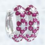 ショッピングルビー ルビー  ピアス ダイヤモンド 7月の誕生石 Pt900 プラチナ フープピアス 中折れピアス