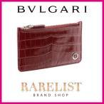 ブルガリ BVLGARI カードケース コインケース 新作 ローマンガーネット ダークレッド シルバー レザー 本革 クロコダイル プレート リング