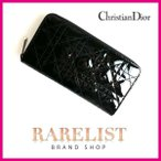 ショッピングブランド クリスチャンディオール Christian Dior 財布 長財布 ラウンドジップ 新作 ブラック シルバー  カナージュ ステッチ チャーム レディース ディオール