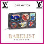ショッピングVUITTON ルイヴィトン LOUIS VUITTON 財布 長財布 ラウンドファスナー 限定 ダミエ グラフィット ブラック グレー シルバー パッチ プリント ロゴ