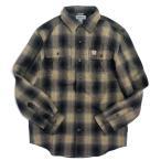 カーハート オリジナルフィット フランネル ロングスリーブ プレイド シャツ ブラック メンズ/チェックシャツ/ネルシャツ