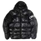 [SALE]ディーケーエヌワイ フーデッド ロゴ パフ ジャケット ブラック メンズ
