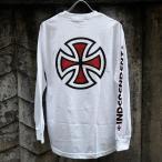 インディペンデント バー/クロス スリーブ ロングスリーブ Tシャツ ホワイト