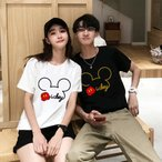 ペアルックTシャツ   半袖 ミッキー 2色展開 カットソー レディース メンズ ディズニー