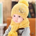 キッズ・ベビーファッション キッズ帽子+暖かいストール2点セット 新品未使用品