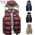 ダウンベスト メンズ中綿ベスト 帽子付き ダウンジャケット 袖なし冬コート ノースリーブダウンジャケット 中綿ジャケット