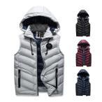 ダウンベスト メンズ 中綿ベスト ノースリーブ 袖なしジャケット アウター フード付き秋冬 新作