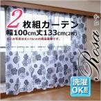 花柄ボイルプリントレースカーテン 2枚組 ロサ 幅100丈133