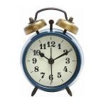 置時計 ベルアラーム W83×D40×H118mm スチール ウォッチ おしゃれ ブルー 代引不可