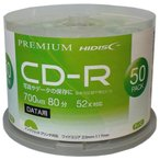 PREMIUM HIDISC 高品質 CD-R 700MB 50枚スピンドル データ用 52倍速対応 白ワイドプリンタブル HDVCR80GP50 ポイント10倍
