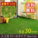 ロール 人工芝 芝丈30mm 幅1mx長さ10m ロールタイプ リアル人工芝 屋上緑化 ベランダ 庭 屋外 グリーンターフ ガーデンターフ 代引不可