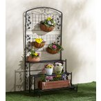 フェンス付フラワースタンド3段 1台 おしゃれ 花飾り