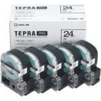 (業務用5セット) キングジム テプラ PROテープ/ラベルライター用テープ 〔幅:24mm〕 5個入り SS24K-5P ホワイト(白) 〔×5セット〕
