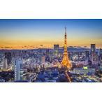 絵画風 壁紙ポスター (はがせるシール式) 夕暮れの東京タワー 夜景 六本木ヒルズ 東京ミッドタウン キャラクロ TKT-022W1 (ワイド版 921mm×576mm)