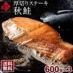 北海道 日高産 秋鮭の厚切りステーキ 600g(120g×5枚)×3セット 切り身 鮭 サケ さけ シャケ 秋鮭 北海道 お取り寄せ ギフト 送料無料