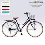 マイパラス MYPALLAS 自転車 シティサイクル 26インチ M-504 4色 6段ギア カゴ付 LEDオートライト 代引不可