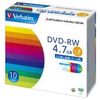 Verbatim製 データ用DVD-RW 4.7GB 1-2倍速 ワイド印刷エリア 5mmケース入り 10枚 三菱化学メディア DHW47NP10V1