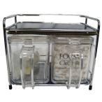 シンプル 調味料ラック/キッチン収納 〔調味料ポット2個セット〕 幅20.5cm ワイヤーフレーム 2型 『フォルマ』