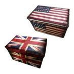 アンティーク調 ボックスイス L 魅せる 収納 国旗柄 アンティーク風 おしゃれ かっこいい 代引不可