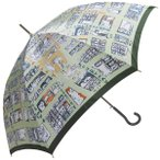 Manhattaner`s 日本製雨傘(長傘) 猫のマンハッタン凱旋 グリーン KM-82L
