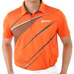 ゴルフシャツ スリクソン 2<SRIXON>ストレッチ クール UVケア オレンジ