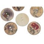 【クラフトボタン】[フラワー柄]アンティーク調プリントボタン(ミックス100個) 木製ボタン木のボタン/25mm
