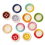 【ウッドボタン】10個入(4つ穴)カラフル木製ボタン(ランダムミックスアソート)ファンシーボタン/15mm