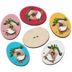 【クラフトボタン】鳥の巣箱プリントウッドボタン おまかせミックスデザイン3個 木製ボタン/(32mm×24mm)