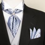 メンズストール ポケットチーフ スカーフリング 3点セット ブルー CD407-SD4007-RG-BLUE