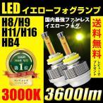ショッピングLED LED イエロー フォグランプ H8/H9/H11/H16/HB4 3600ルーメン 黄色 3000k ファンレスバルブ 送料無料