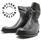 BUTTERO ブッテロ 日本正規品 定番サイドジップブーツ ネロ(ブラックレザー) B825 イタリア製 サイドファスナー すね丈 ショートブーツ メンズ 男性用 本革