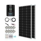 ソーラーパネル単結晶100W×2枚+MPPTチャージコントローラー40A セット 12/24Vシステム兼用
