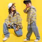 チェックシャツ デニムパンツ hiphop キッズダンス衣装 ヒップホップ HIPHOP チェック柄 子供 セットアップ ジャズダンス 練習着 体操服 ステージ衣装