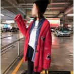 ショッピングカーデ カーディガン セーター レディース 刺繍 フート付き 秋冬 韓国風 カーデ ニット カジュアル ゆったり 長袖 コート 羽織り