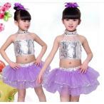 ダンスウェア キッズ ダンス衣装 子供 セットアップ 女の子 スパンコール ダンス 演出 ジュニア ガールズ チアガール 応援団