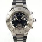 カルティエ CARTIER マスト21 クロノスカフ W10125U2 クォーツ クロノグラフ ブラック文字盤 メンズ腕時計 SS ラバー 【中古】