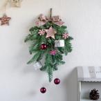 造花 ノルディック柄リボンのクリスマススワッグ ピンク 約H41cm アレンジメント 壁 玄関 部屋
