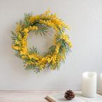 造花 ミモザリース Lサイズ 直径約35cm 1個 春 壁掛け