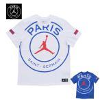 【2色展開】NIKE AIR JORDAN x PARIS SAINT-GERMAIN PSG ナイキ ジョーダン Logo T-Shirt BQ8384 100 / 480 ホワイト系 ブルー系 メンズ Tシャツ トップス 半