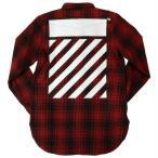 メンズ  オフホワイト タータン シャツ 長袖 レッド ブラック ロゴ プリント  OFF-WHITE TARTAN SHIRT RED/BLA
