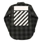 メンズ オフホワイト タータン シャツ 長袖 グレー × ブラック ロゴ プリント 厚手 チェック  OFF-WHITE TARTAN SHIRT