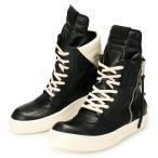 メンズ リックオウエンス レザー プルタブ スニーカー 靴 ブラック ホワイト 黒 ハイカット ブーツ RICK OWENS CYCLOPS GEOBASKET LEATHER RU16S3882-LPO-911