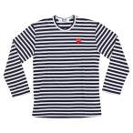 COMME DES GARCONS メンズ コムデギャルソン プレイ Tシャツ ロンT 長袖 ボーダー ネイビー × ホワイト COMME des GARCONS PLAY STIPED TSHIRT  AZ-T010