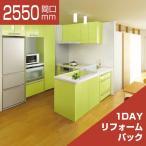 システムキッチン 1DAYリフォームパック LIXIL リシェル L型 お手入れらくらくプラン 食洗機なし 奥行650 間口2550×1800 扉グループ1