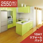 システムキッチン 1DAYリフォームパック LIXIL リシェル L型 こだわり充実プラン 食洗機なし 奥行650 間口2550×1800 扉グループ1