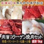 《送料無料》Wコラーゲン焼肉セット(3〜4人前)特選ハラミ、国産牛ロース、和牛小腸、シロコロホルモン/バーベキューセット/ホルモン焼き/BBQ