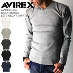 AVIREX(アビレックス/アヴィレックス) Tシャツ Vネック 長袖 ロンT メンズ