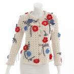 【シャネル】Chanel 2010年 フラワー 刺繍 クロシェ ニット ジャケット カーディガン ホワイト 34 【中古】【正規品保証】29638