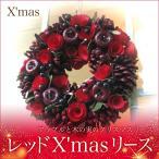 アップルと木の実の クリスマスリース レッドX'masリース 送料無料 リース ドア飾り X'mas