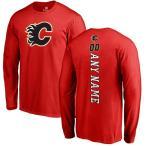 ファナティクス ブランデッド メンズ Tシャツ トップス Calgary Flames Fanatics Branded Personalized Backer Long Sleeve T-Shirt